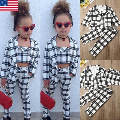 Fashion Kids Girls Winter Xmas Clothes Plaid Coat Tops+Undercoat+Long Pants covid 19 (Coat Top Pants coronavirus)