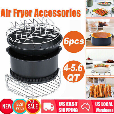 6 in 1 Air Fryer Accessories Chips Baking Set BBQ Cake Pizza Pan Skewer Rack USA