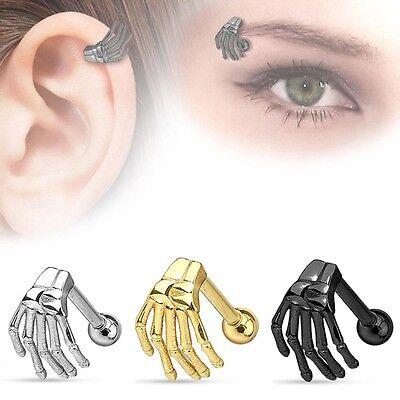 Augenbrauenpiercing 8mm Skelett Hand Piercing Augenbraue Anhänger Barbell
