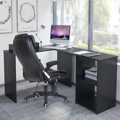 Corner L-Shaped Computer Desk Corner PC Table Workstation Home Office w/ Shelves