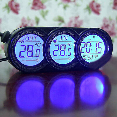 2In1 Car LED Backlight Digital Display Clock+2 Thermometer for Universal vehicle ()