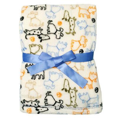 Baby Gear Plush Velboa Ultra Soft Baby Blanket 30 x 40, White Puppy