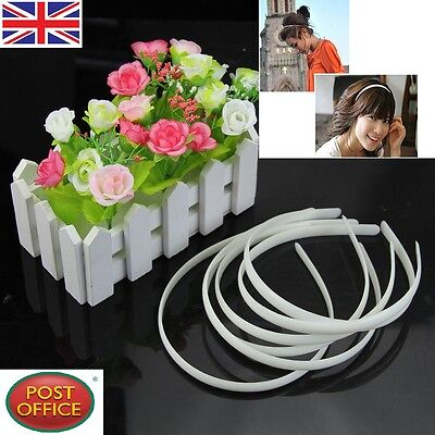 10pc White Fashion Plain Lady Plastic Hair Band Headband No Teeth Hair DIY Tool