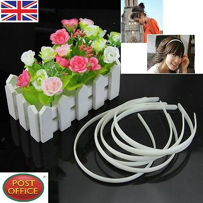 - 10pc White Fashion Plain Lady Plastic Hair Band Headband No Teeth Hair DIY Tool