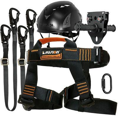 Fusion Pro Zip Line Kit Harness/2 Lanyard/CarabinerTrolleyHelmet FTK-A-HLLCTH-13