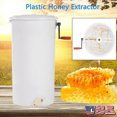2 Frame Plastic Bee Honey Extractor Manual Honeycomb Beekeeping Equipment Us