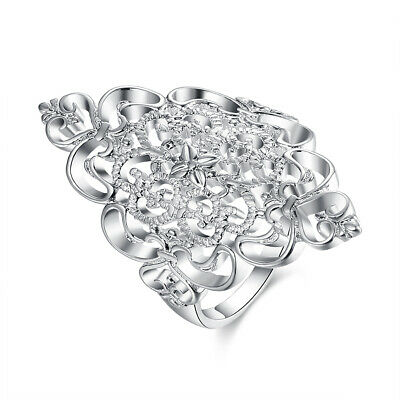 925 Silver Fashion Jewelry Hollow Decorative Pattern Women Ring #7-#8 RP807