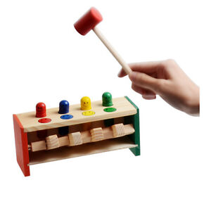 Wooden Hammering Bench Children's Toddlers Toy Hammer Coloured Wood Pegs Game