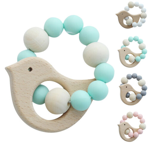 Infant Baby Teething Bracelets Beech Wooden Silicone Beads T