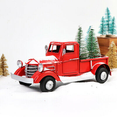 Vintage Car Decor (Vintage Red Metal Truck Car Model with 2 Mini Xmas Tree Kids Gift Table)