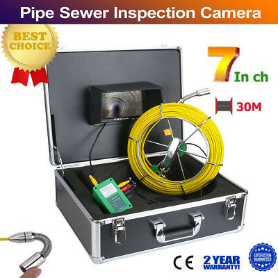 30m 98ft Ip68 Waterproof Drain Pipe Sewer Inspection Camera 7 Lcd 1000 Tvl Cam
