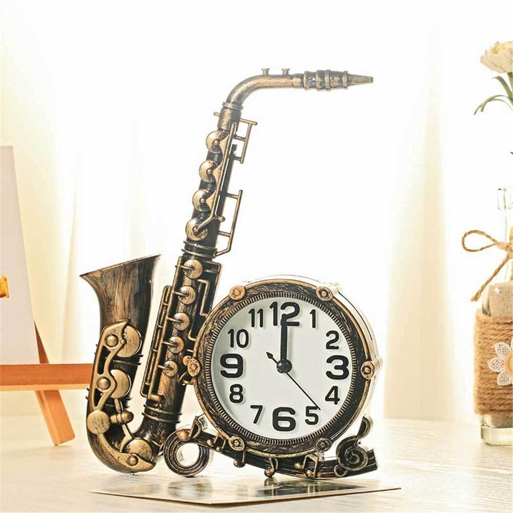 Creative Plastic Saxophone Musical Instrument Bedside Clock Alarm Clock  Easter