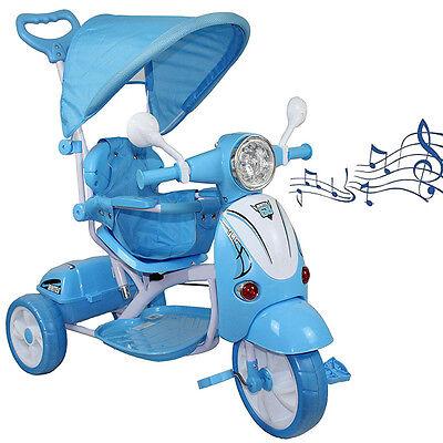 Triciclo per Bambini Vespina Azzurr Parasole Maniglia Direzionale Gioco Musicale