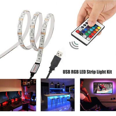 5V USB LED Strip Lights TV Back Light 5050 RGB Colour Changing with 24Key - Stringed Lights