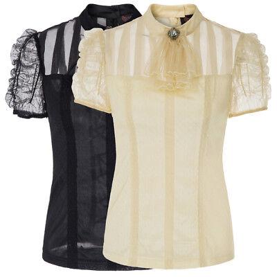 Punk Gothic Steampunk Uniform Kurzarm Shirt Bluse Tops Für Frauen Schwarz/Beige ()