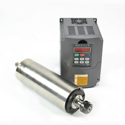 Hy 80mm Er20 2.2kw Water Cooled Motor Spindle And Drive Inverter Vfd For Cnc Hy