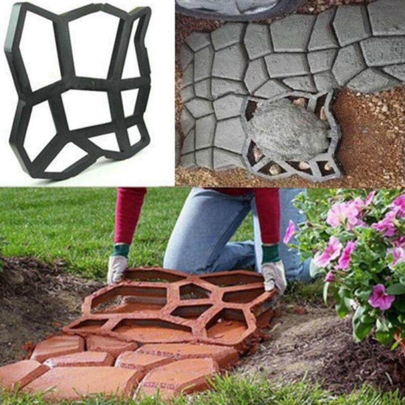 plastic Mold Patio Concrete Stepping Stone Path Driveway Walk Paving Pavement