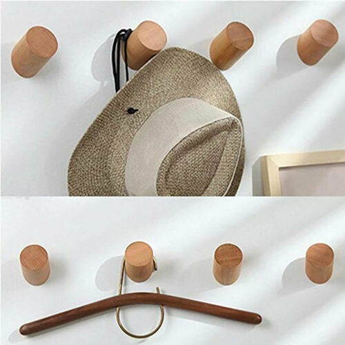 Wall-Mounted Solid Wood Round Coat Hook Clothes Scarf Hat Ba