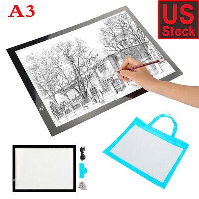 LED Tracing Light Box Board Tattoo A3 Drawing Copy Pad Table Stencil Display USA