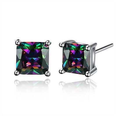 MYSTIC RAINBOW PEACOCK FIRE TOPAZ TEAR DROP 1.38 C/ECH PEAR CZ STUD EARRINGS ()