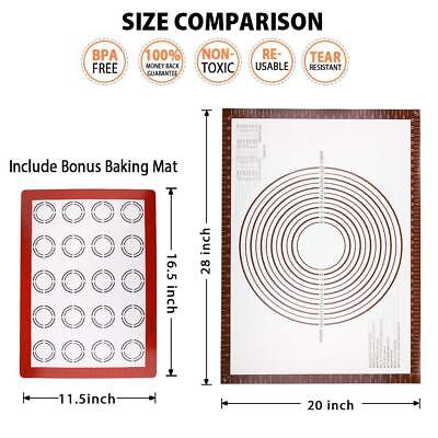 Silicone Baking Pastry Counter Dough Rolling Mats Non Stick with Measurements