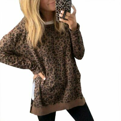 Womens Long Sleeve Camouflage Stripes Leopard Sweater Pullover Outwear Coat S-XL
