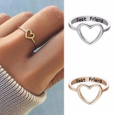 Women Love Heart Best Friend Ring Promise Jewelry Friendship Wedding Rings