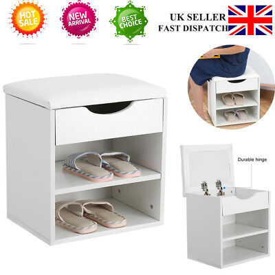 Shoe Bench Storage Cabinet Organizer Entryway Hallway Seating Shoe Rack &Cushion