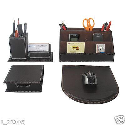 4pcsset Leather Desk Stationery Organizer Pen Holder Mouse Pad Card Dispenser