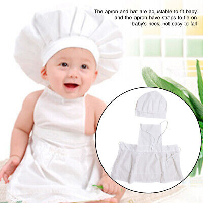 Unisex Apron Hat Baby Chef Suit Set Gift White Photography Props Cotton Blends