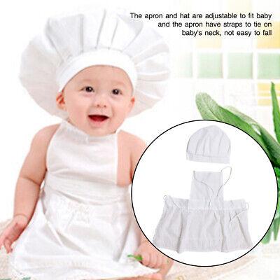 Unisex Apron Hat Baby Chef Suit Set Gift White Photography Props Cotton Blends