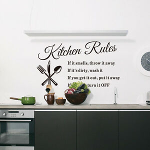 Removable Wall Sticker Vinyl Quote Mural Home Art DIY Kitchen Rules Decal Decor