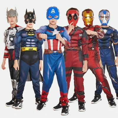 Kinder karneval Cosplay Kostüm Captain America Spiderman Batman maske Kit - Captain Kostüm Kinder