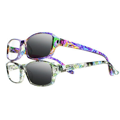 Women Rainbow Cyan Transition Photochromic Reading Glasses Sun Readers +1.0~+4.0