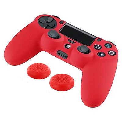 Protective Case PlayStation 4 PS4 Controller Red +Silicone Thumb Stick Grip Cap