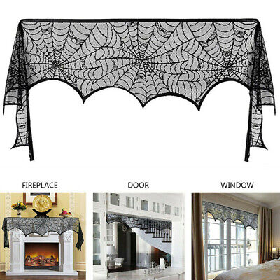 Halloween Cobweb Decorations (Halloween Spiderweb Fireplace Mantle Scarf Black Lace Cobweb Home Party Decor)
