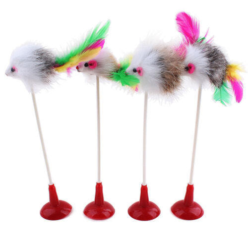 For Cat Kitten Pet Feather False Mouse Bottom Sucker Dog Playing Scratch Toy New
