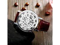 mens leather wrist watch