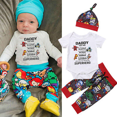 US 3Pcs Newborn Baby Boy Cotton Top Romper Pants Leggings Hat Outfit Clothes Set](Birthday Boy Hat)