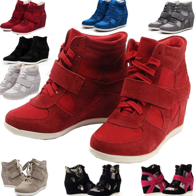 Women's Hidden Wedge Heels Sneakers Athletic Ankle Boots Pla