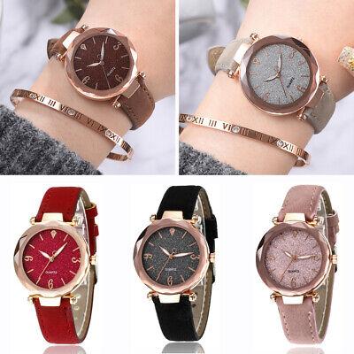 Modische Sternenklarer Himmel Damen Armbanduhr Leder Armband Geburtstagsgeschenk