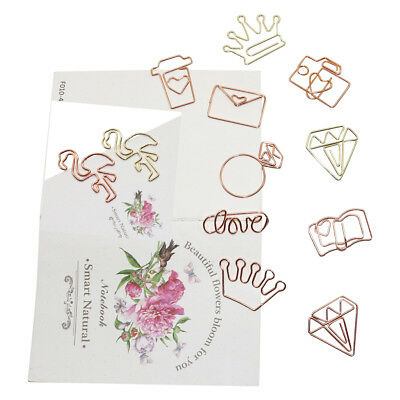 10 X Metal Bookmark Rose Gold Flamingo Royal Crown Cute Heart Shape Paper Clips