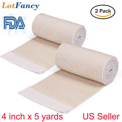 Cotton Elastic Bandage Wrap First Aid Kit Gauze For Knee Hook Loop 4 X 5 Yards