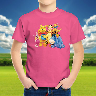 Winnie the Pooh Piglet Tigger Eeyore Roo Disney Walt Kids Boys Youth Tee T-Shirt