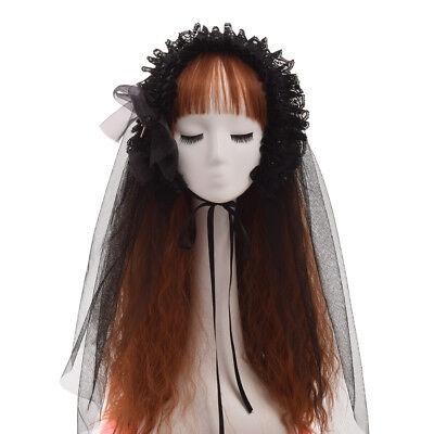 Vintage Gothic Lolita Girl Black Hairband With Veil Ribbon Bowknot Lace Headband](Black Veil Headband)
