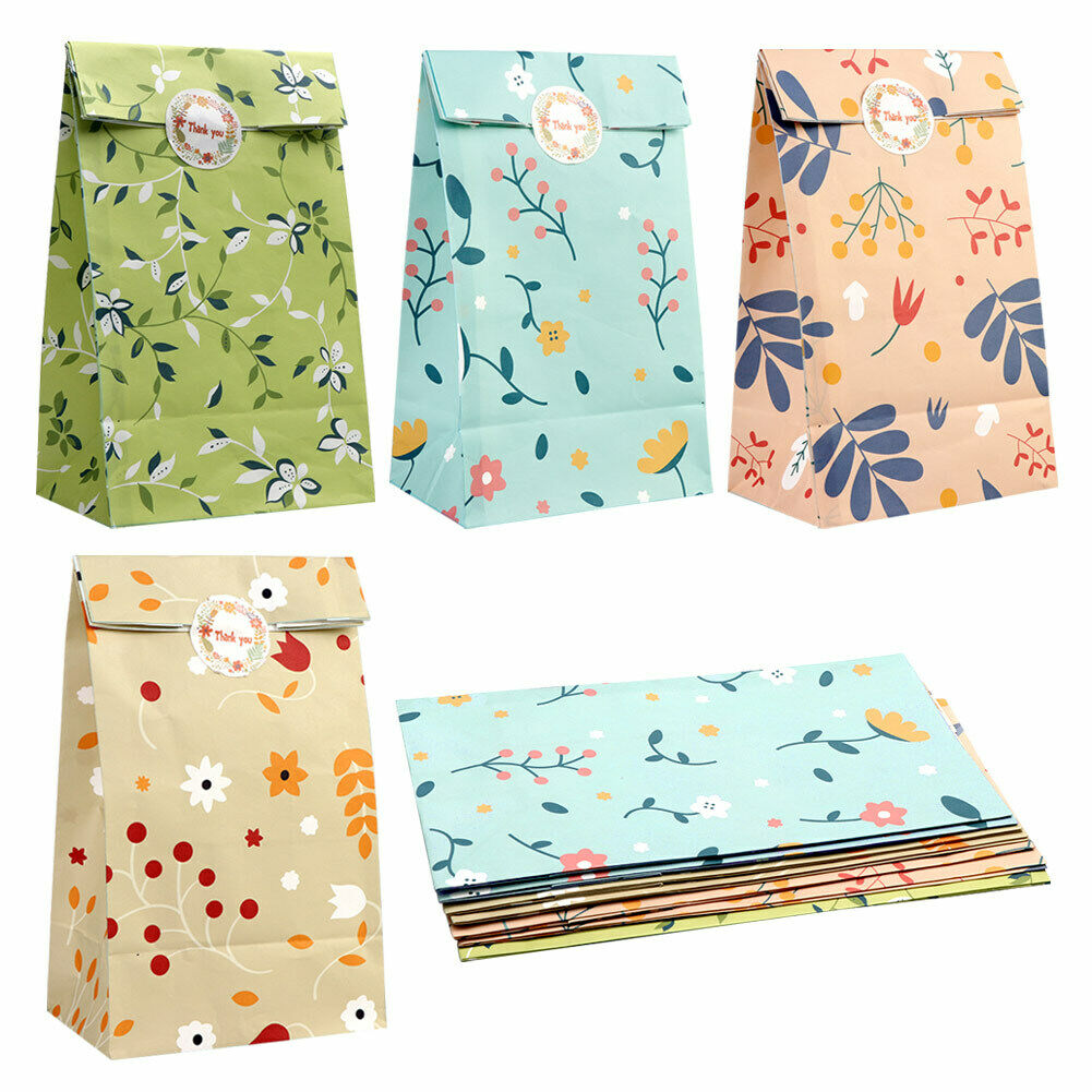 12x Watercolor Gift Bags Paper Flowers Candy Bag Girls Birthday Wedding Favors