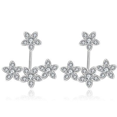 - Front Back 2 in 1 Round Cubic Zirconia Stud and Ear Jacket Cuff Earrings