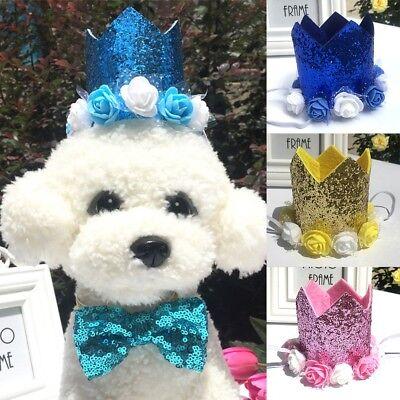 Pet Cat Dog Happy Birthday Hat Party Crown Rose Flower Soft Cap Puppy Headwear