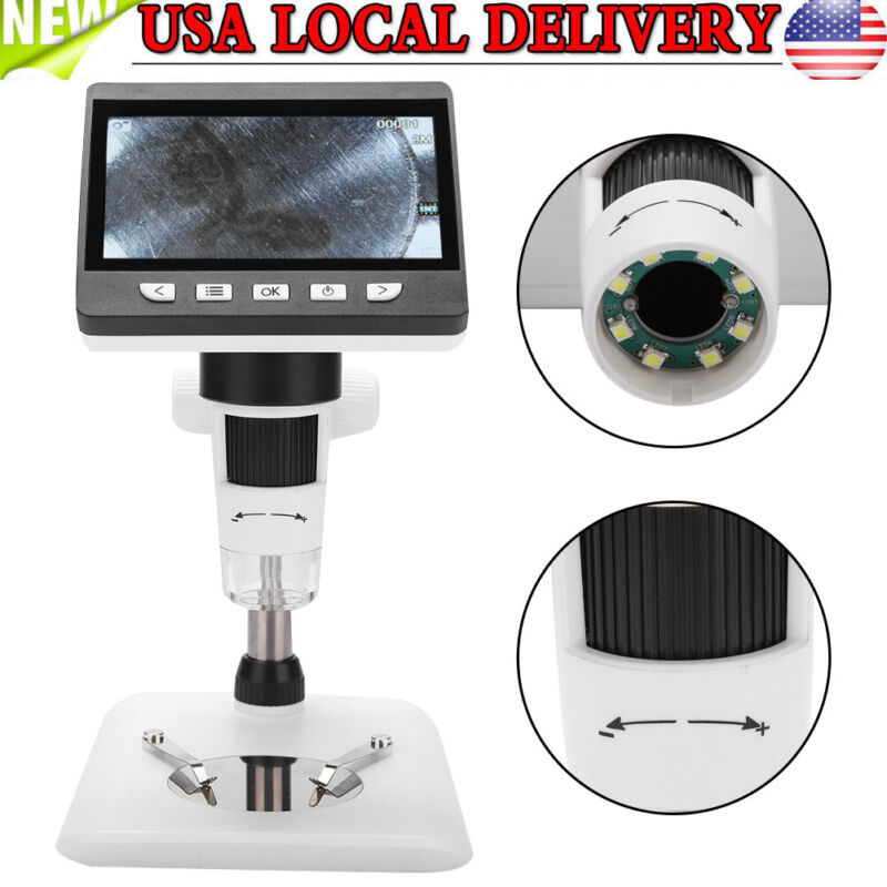 "Portable 4.3"" HD LCD 1000X Magnifier 1080P Digital Microscope With LED lights US"