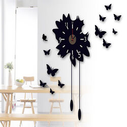 New Removable Modern Black DIY Butterfly Flower Sticker Home Decor Wall Clock